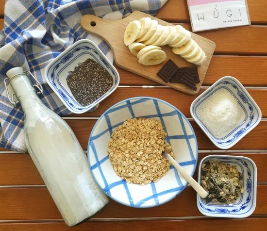 Kaše přes noc (overnght oats) WUGI recepty